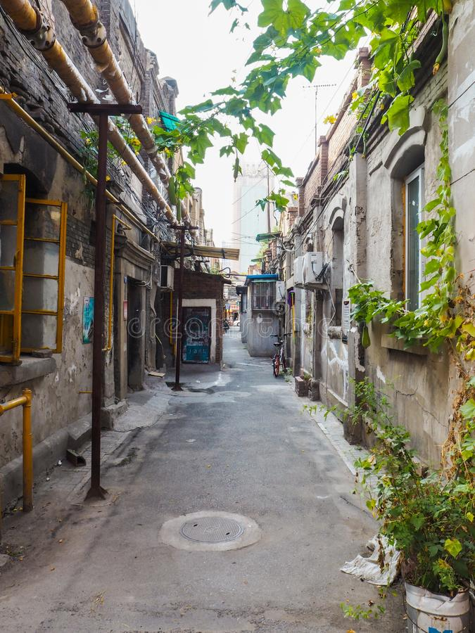 Traditional old neighborhood in Tianjin French concession. Tianjin, China - September 2017: Traditional neighborhood with old houses in the french concession in stock photography