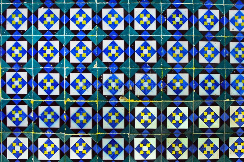 Traditional old porcelain ceramic tile azulejo on the facade of. The house  14 Travessa do Fala So in Lisbon, Portugal stock photo