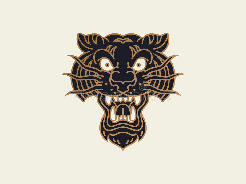 Traditional old school tattoo. Logo design template. tiger head royalty free illustration