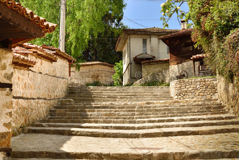 A traditional old street, Koprivshtitsa Bulgaria stock image