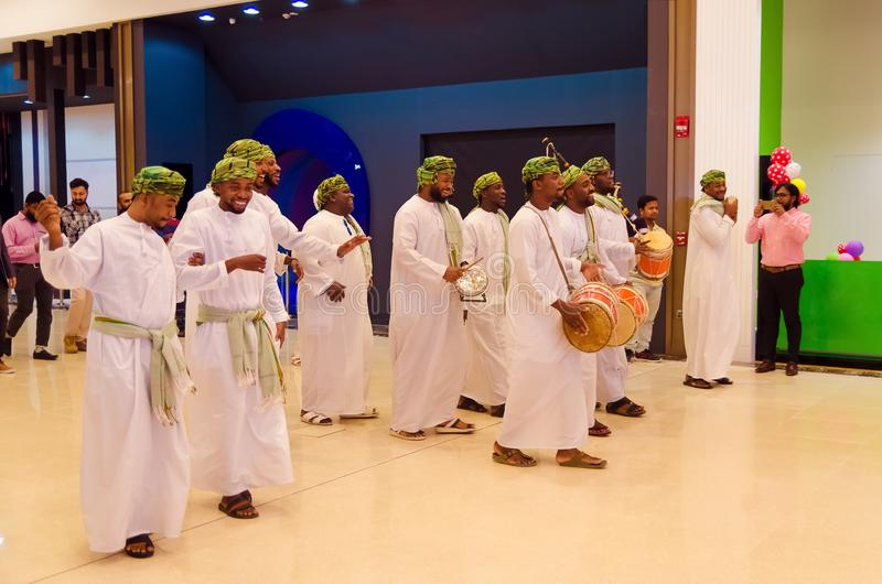 Traditional Omani musicians performing royalty free stock photo