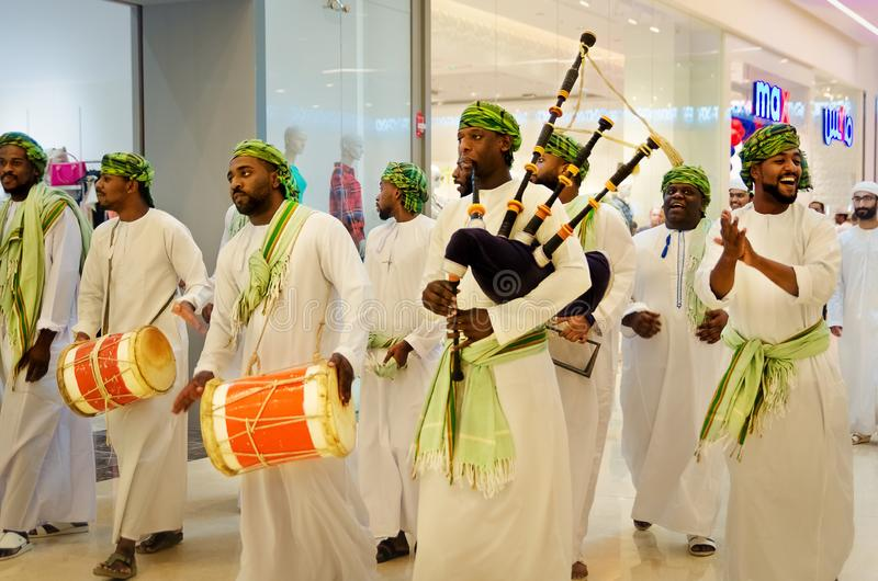 Traditional Omani performers stock image
