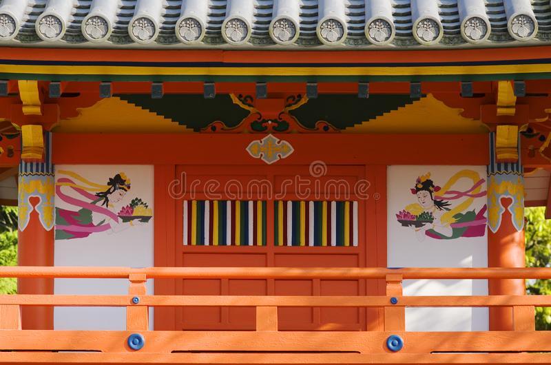 Buddhist temple decoration. Traditional orange decoration on a Japanese Buddhist temple in Tajimi, Aichi prefecture royalty free stock photography