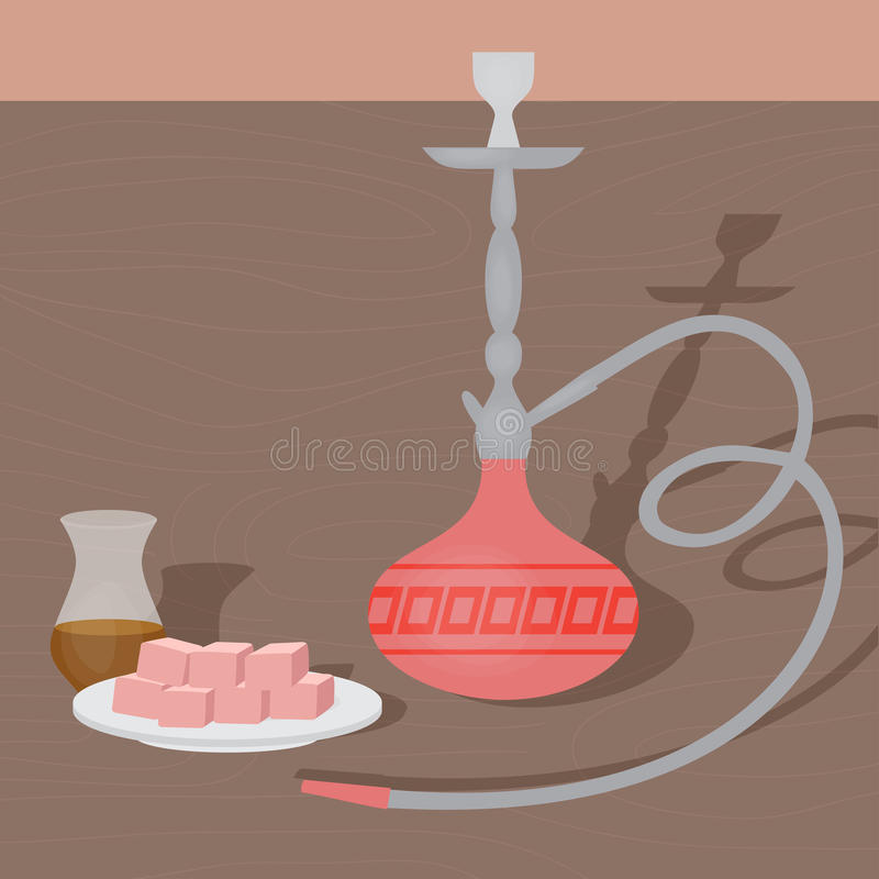 Traditional oriental hookah with turkish tea and delights. East nargile shop or shishe lounge.  vector illustration