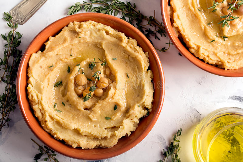 Traditional oriental hummus royalty free stock photo
