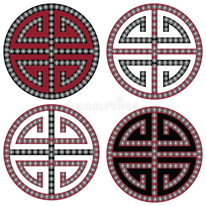 Traditional Oriental Korean symmetrical zen symbols in black, white and red with diamonds element fashion and tattoo elements stock illustration