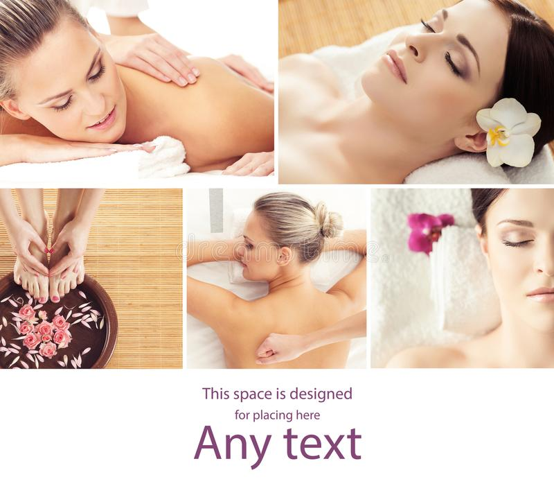Collage with young and healthy woman relaxing in spa salon. Girl getting traditional oriental aroma therapy and massaging royalty free stock image