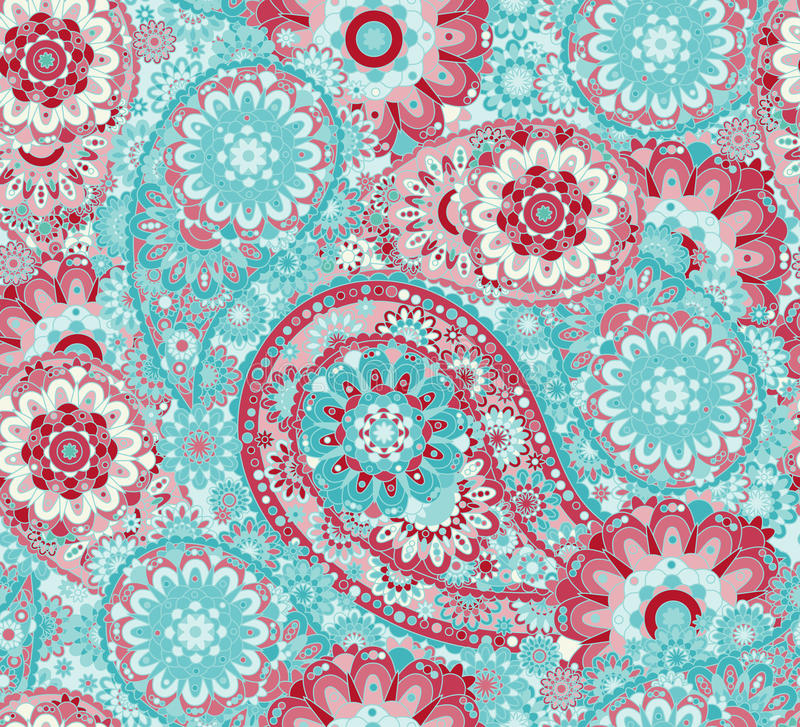 Traditional oriental seamless paisley pattern. Vintage flowers background. Decorative ornament backdrop for fabric, textile, vector illustration