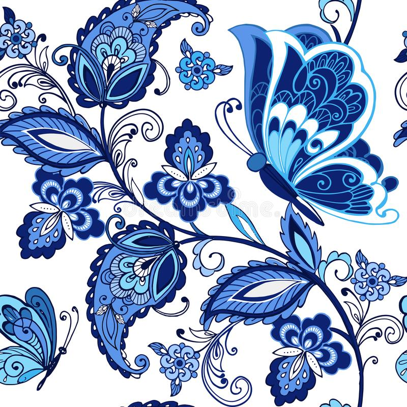 Traditional oriental seamless paisley pattern. Vintage flowers ornament with butterflies in blue colors. Decorative vector illustration