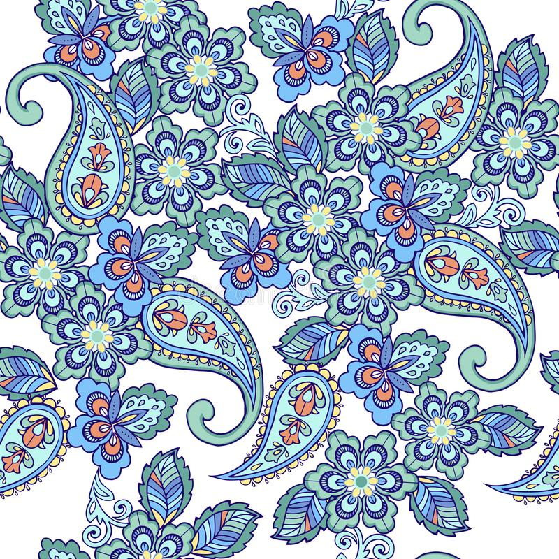 Traditional oriental seamless paisley pattern. Vintage flowers seamless ornament in blue colors. Decorative ornament backdrop for royalty free illustration