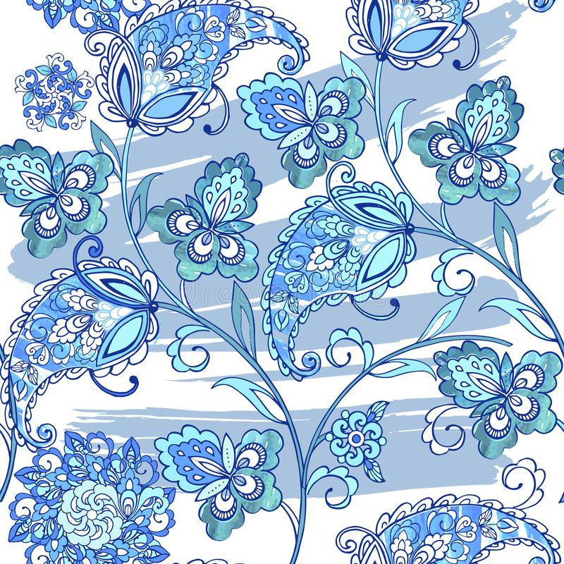 Traditional oriental seamless paisley pattern with watercolor stains. Vintage flowers seamless ornament in blue colors stock illustration
