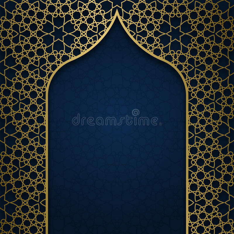 Traditional ornamental background with arched frame. Traditional ornamental background with golden arched frame royalty free illustration