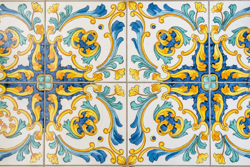 Traditional ornate italian decorative ceramic tiles from Vietri, colorful background stock photos