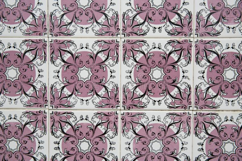 Traditional ornate portuguese decorative tiles stock photography
