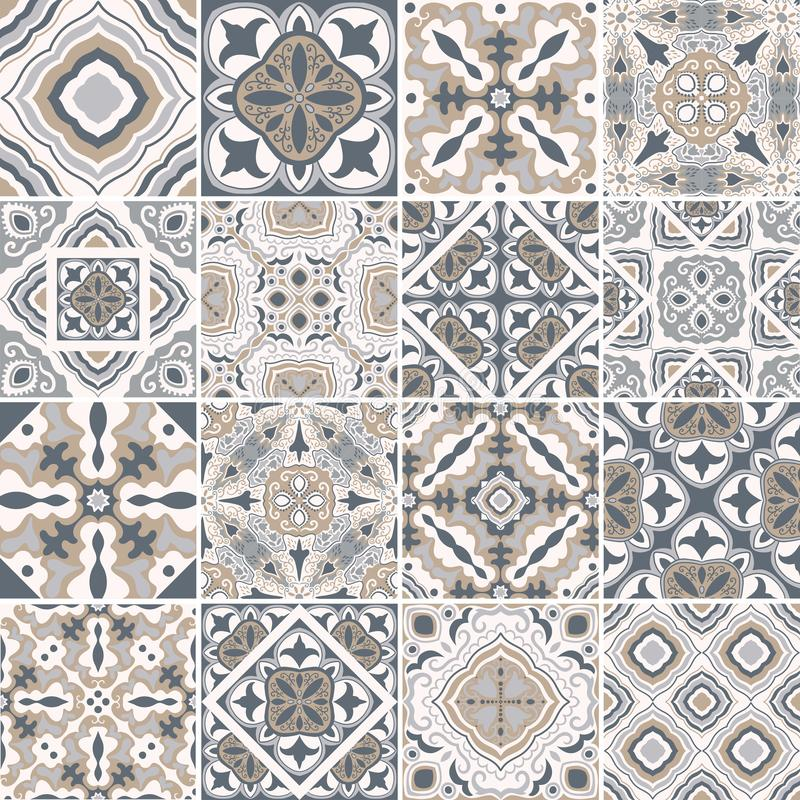 Traditional ornate portuguese decorative tiles azulejos. Abstract background. Vector hand drawn illustration, typical stock illustration