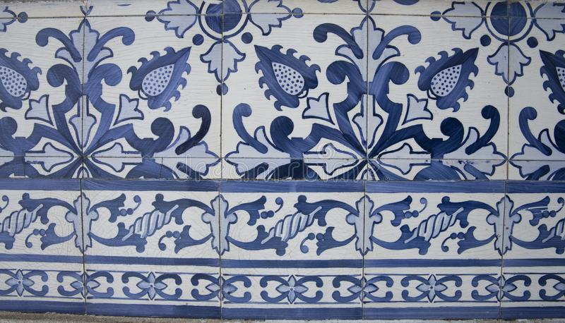 Traditional ornate portuguese decorative tiles royalty free stock photography