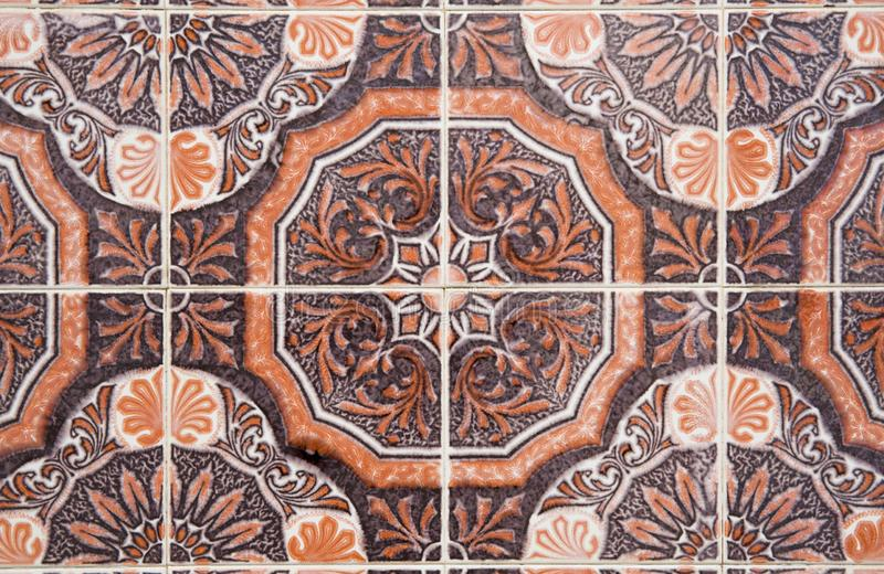 Traditional ornate portuguese decorative tiles royalty free stock photo
