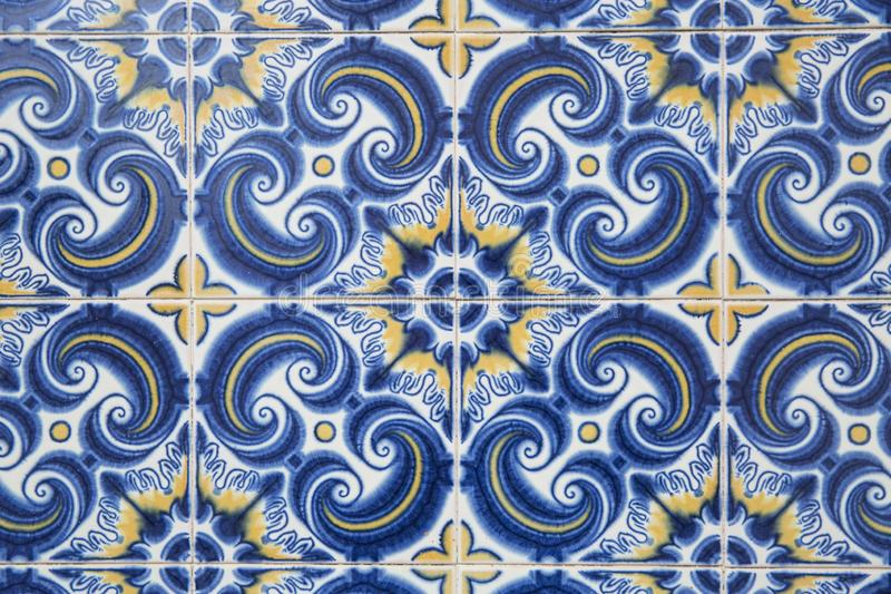 Traditional ornate portuguese decorative tiles stock images