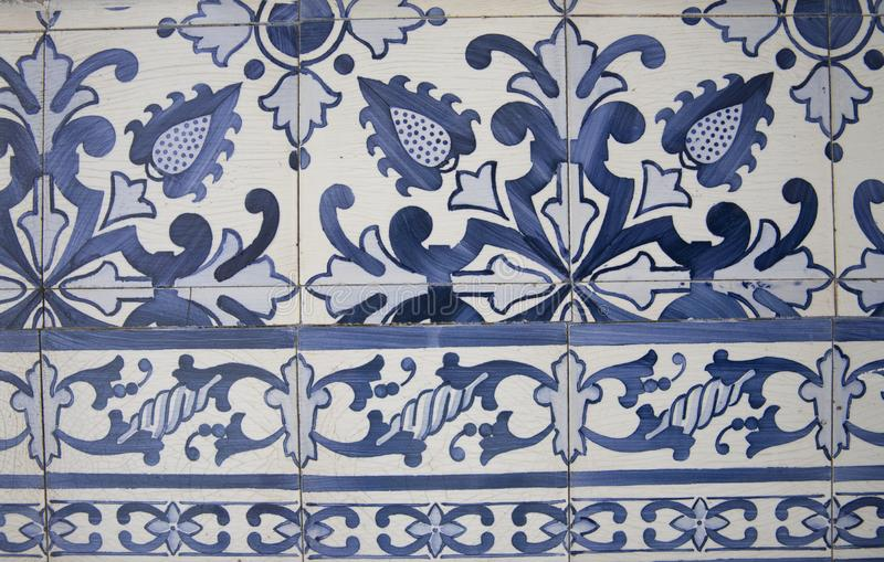 Traditional ornate portuguese decorative tiles stock photos