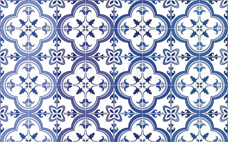 Traditional ornate portuguese tiles azulejos. Vector illustration. 4 color variations in blue. royalty free illustration