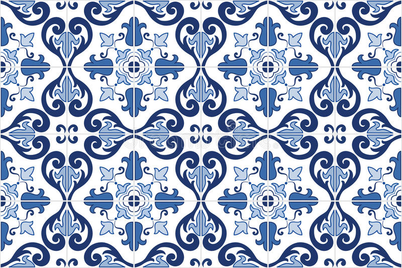 Traditional ornate Portuguese tiles azulejos. Vector illustration. stock illustration