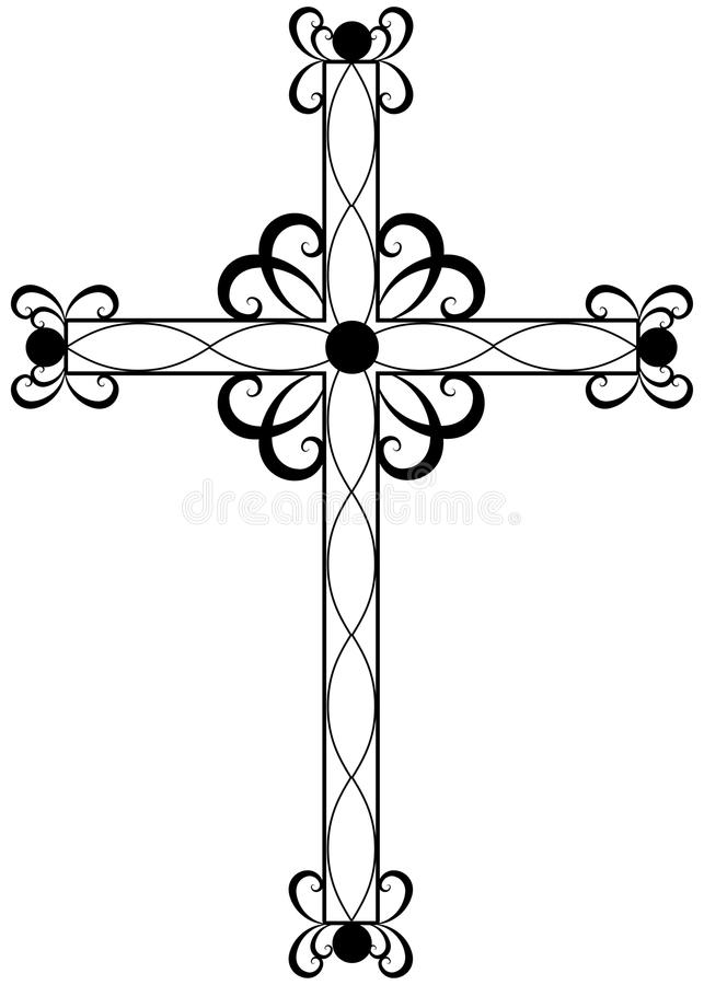 Traditional ornate religious cross royalty free illustration