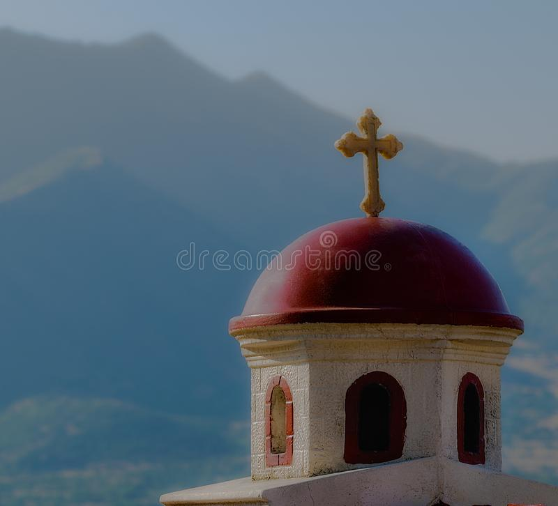 Traditional Orthodox Christian Paraklis. Located on the Pletvar uphill in Macedonia. Paraklis is a traditional religious object - a miniature church, where stock photos
