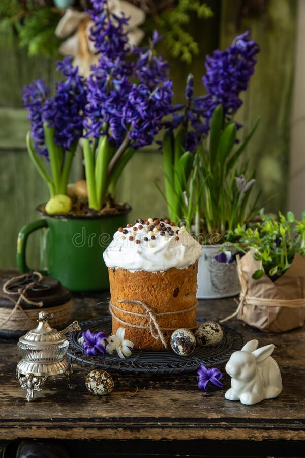 Traditional Orthodox Easter bread Kulich, royalty free stock image