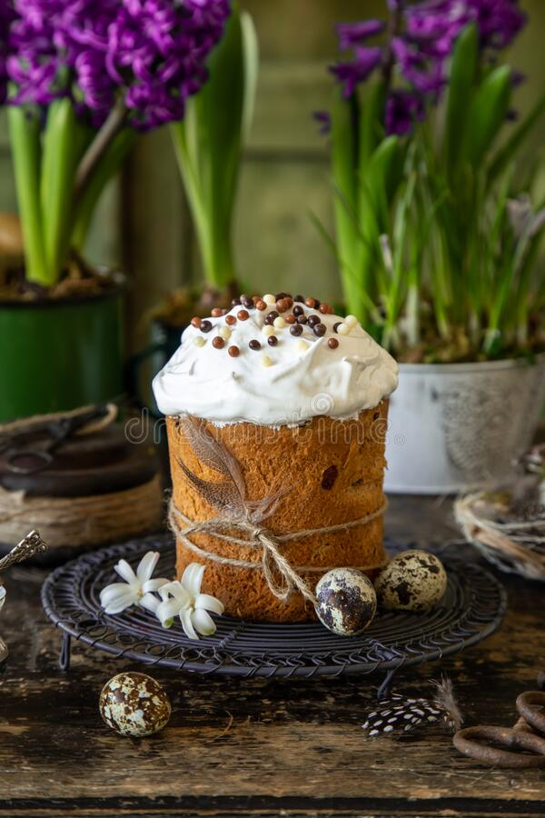 Traditional Orthodox Easter bread Kulich, royalty free stock images