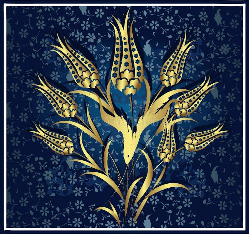 Traditional ottoman gold design vector illustration