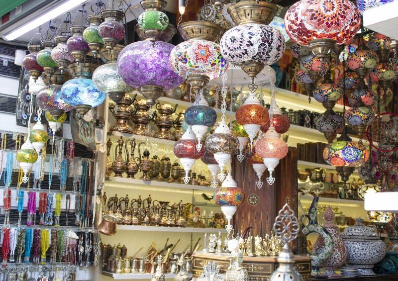 Traditional ottoman lamps closeup. A lot of mosaic glass stock photography