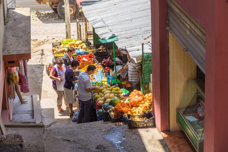 Traditional Ottoman market in Kruja, birth town of National Hero Skanderbeg, Albania. Kruja, Albania- June 24 2014:Traditional Ottoman market in Kruja, birth royalty free stock photo