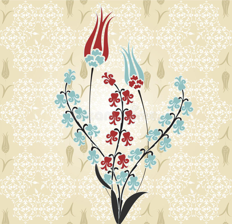 Traditional Turkish Ottoman Red Flower Home Decor Mosaic: Ottoman Tulip Flower Stock Vector. Illustration Of