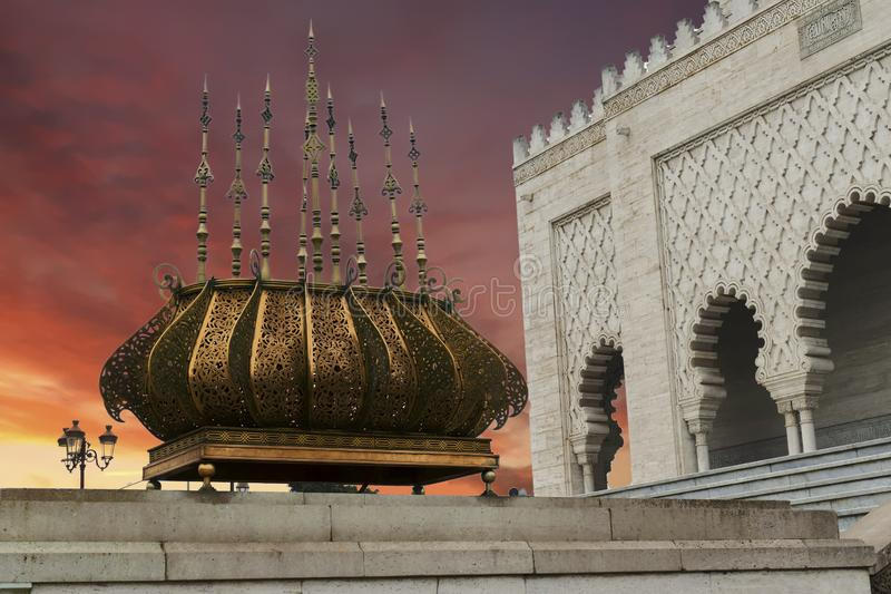 Traditional outdoor lighting urn, Mausoleum. Of  Mohammad V, Rabat, Morocco royalty free stock image