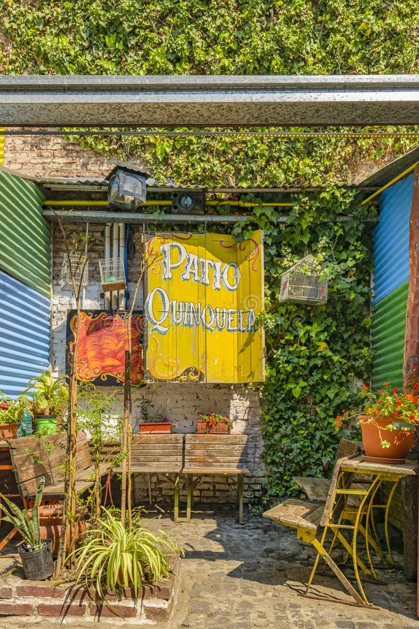 Traditional Outdoor Store, La Boca, Argentina. BUENOS AIRES, ARGENTINA, SEPTEMBER - 2018 - Exterior view of traditional constructions at famous la boca royalty free stock photo