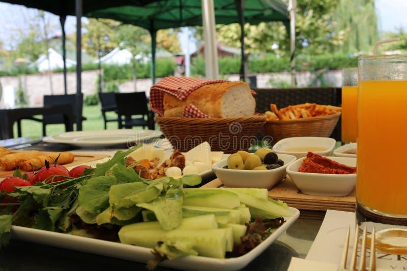 Traditional outdoor turkish breakfast. Turkish brunch. royalty free stock image