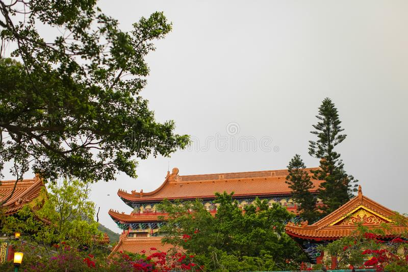 Traditional Pagoda roof of historical architecture of Temple near Big Buddha in HongKong stock photos