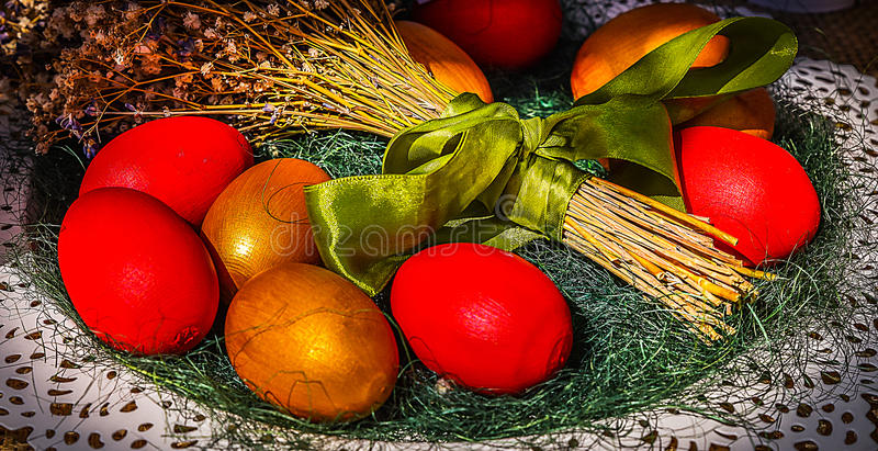 Traditional painted Easter eggs royalty free stock image