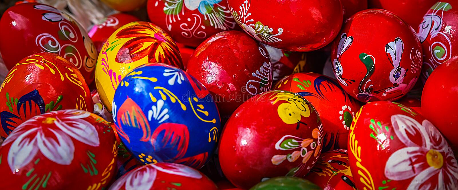 Traditional painted Easter eggs stock photos