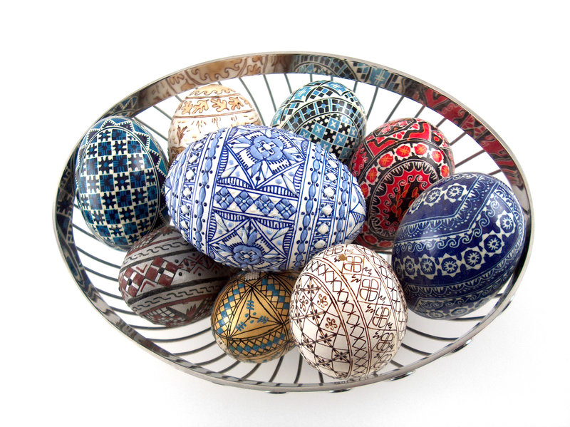 Traditional painted eggs stock image
