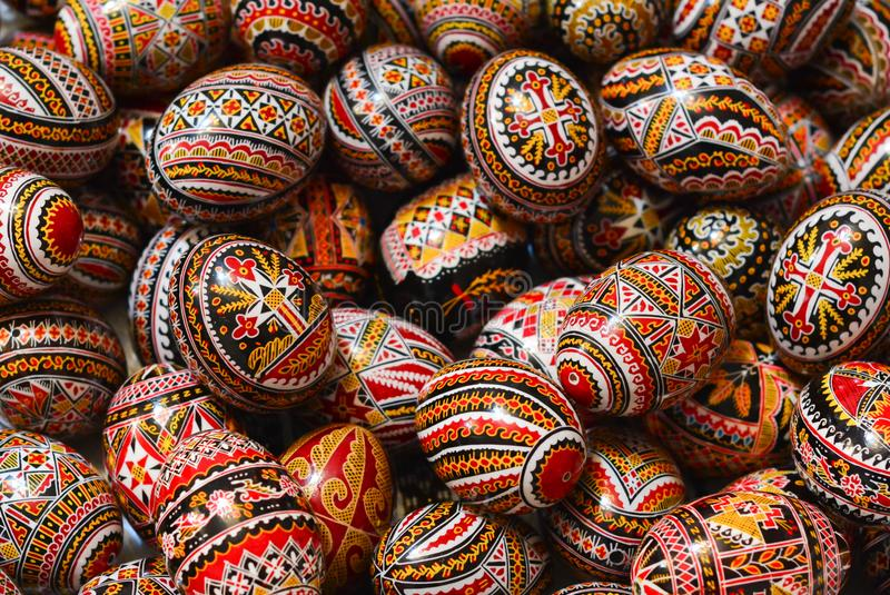 Traditional painted eggs for the orthodox Easter in Romania royalty free stock photos