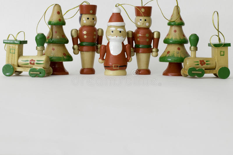 Traditional Painted Wooden Toy Christmas Decorations Stock