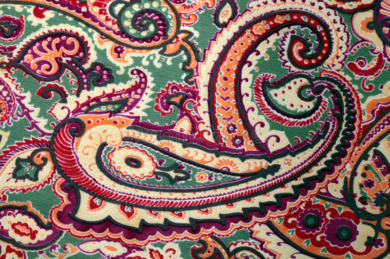 Traditional paisley pattern silk background stock photos