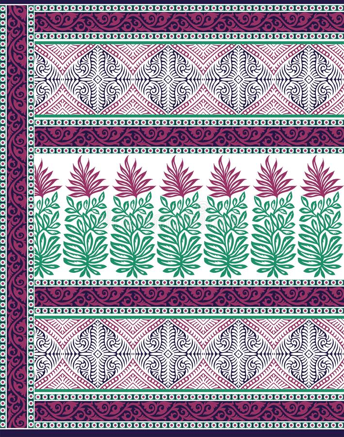 Traditional pallu and ALLOVER PATTERN ART design for print. Textile Indian ornament pattern art design Seamless Paisley beautiful Pattern Indian Seamless stock illustration