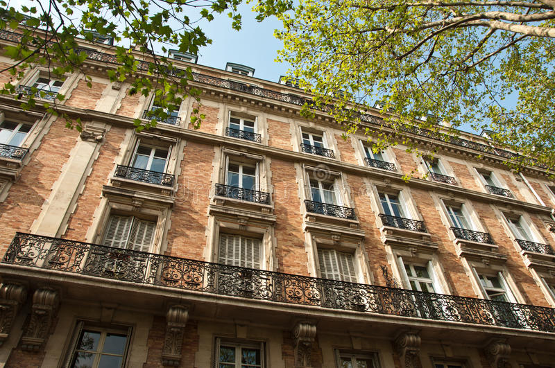 Traditional Parisian building stock images