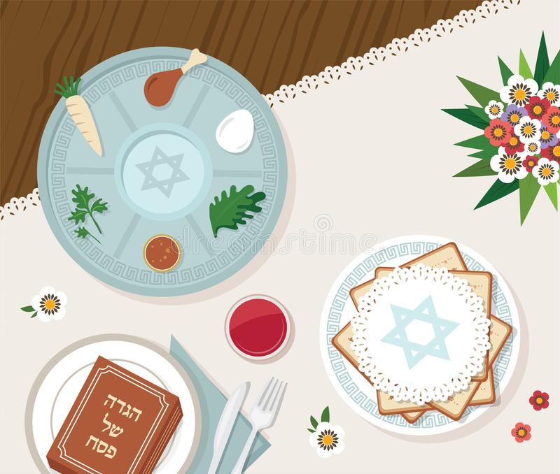 Traditional passover table for Passover dinner with passover plate and Hagaddah story. vector illustration template vector illustration