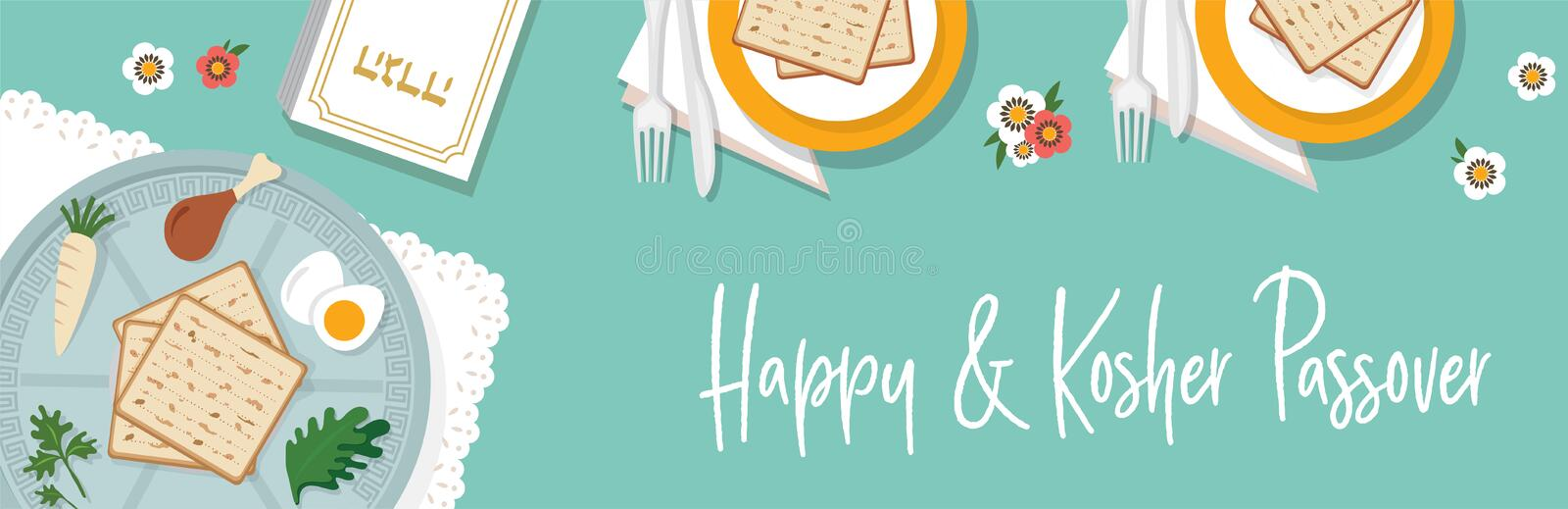 Traditional passover table for Passover dinner with passover plate. vector illustration template banner design vector illustration