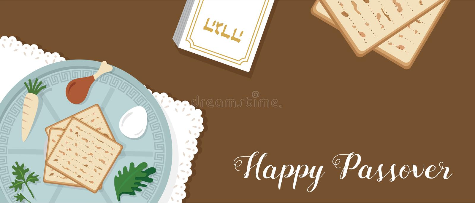 Traditional passover table for Passover dinner with passover plate. vector illustration template banner design stock illustration