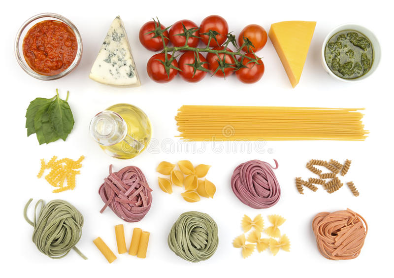 Traditional pasta ingredients royalty free stock photo