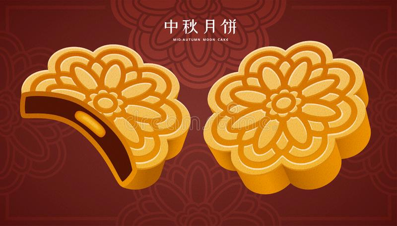 Traditional pastry mooncake. Mooncake festival with traditional pastry mooncake, Mid autumn holiday written in Chinese words royalty free illustration